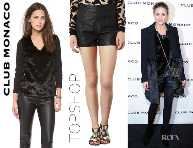 Olivia Palermo's Club Monaco 'Kenzie' Faux Sweatshirt And Topshop 'Lola' High Waist Faux Leather Shorts