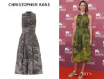 Rebecca Hall's Christopher Kane Spiral-Print Sleeveless Dress