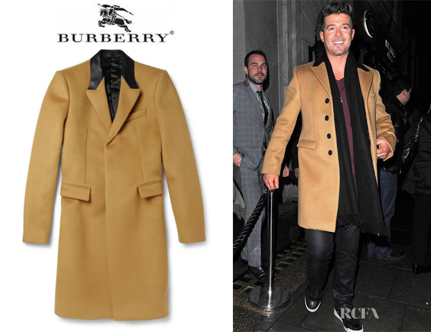 Robin Thicke's Burberry Prorsum Slim-Fit Cashmere-Blend Overcoat