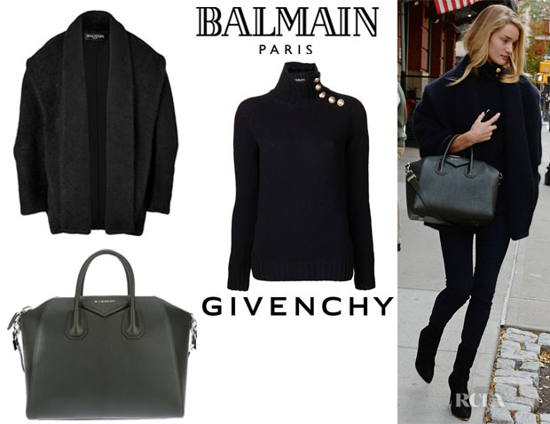 Rosie Huntington-Whiteley's Balmain Cocoon Coat,  Balmain Button Detail Sweater And Givenchy 'Antigona' Tote