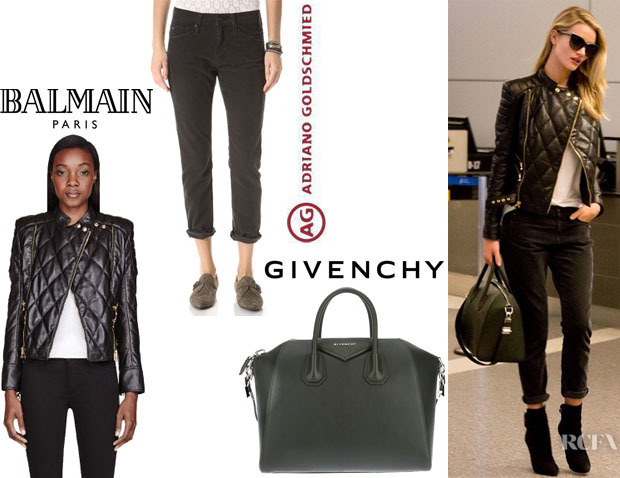 Rosie Huntington-Whiteley's Balmain Leather Quilted Jacket,  AG Adriano Goldschmied 'Beau' Slouchy Skinny Corduroy Pants And Givenchy 'Antigona' Tote