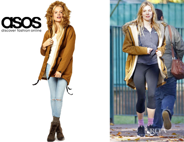 Sienna Miller's ASOS Cocoon Parka With Oversized Fur Trim Coat