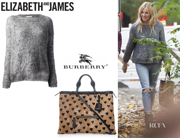 Sienna Miller's Elizabeth And James Loose Fit Sweater And Burberry Prorsum 'Big Crush' Heart Tote
