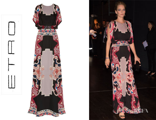 Uma Thurman's Etro Embellished Printed Silk Gown