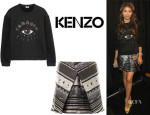 Zendaya Coleman's Kenzo Eye-Embellished Fleece Sweatshirt And Kenzo 'Temple Eye' Brocade Skirt