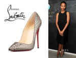 Zoe Saldana's Christian Louboutin 'So Kate' Python Pumps
