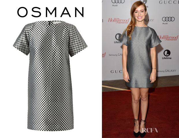 Ahna O'Reilly's Osman Yousefzada Geometric Brocade Shift Dress