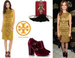 Ahna O'Reilly's Tory Burch 'Birdie' Dress, 'Carley' Booties And 'Adele' Embellished Resin Chain Minaudiere