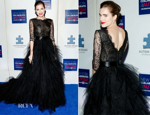 Allison Williams In Oscar de la Renta - 2013 Winter Ball For Autism