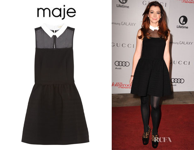 Alyson Hannigan's Maje Chiffon-Paneled Stretch-Jersey Mini Dress