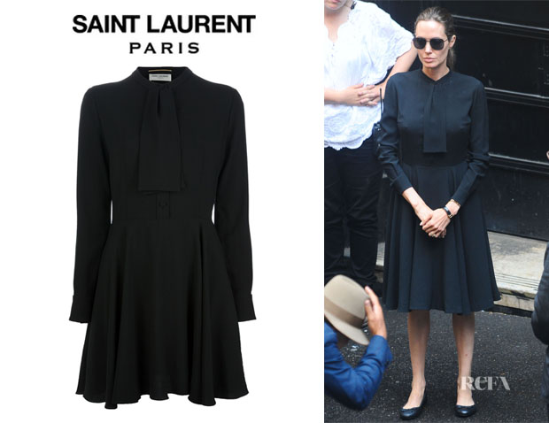 Angelina Jolie's Saint Laurent Pussy Bow Blouse Dress