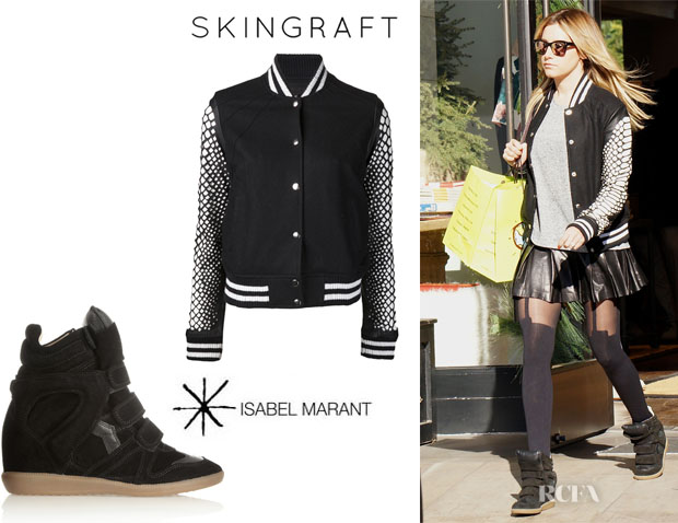 Ashley Tisdale's Skingraft Python Cut Varsity Jacket And Isabel Marant 'The Bekett' Sneakers