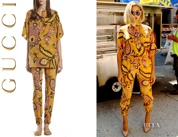 Beyoncé Knowles' Gucci Paisley Print Silk Oversize Top And Jogging Pants