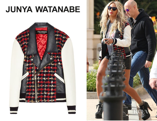 Beyonce Knowles' Junya Watanabe Tweed And Faux Leather Biker Jacket