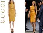 Blake Lively's Gucci Belted Waist Leather Dress