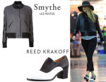 Blake Lively's Smythe Varsity Bomber Jacket And Reed Krakoff High Heeled Oxfords