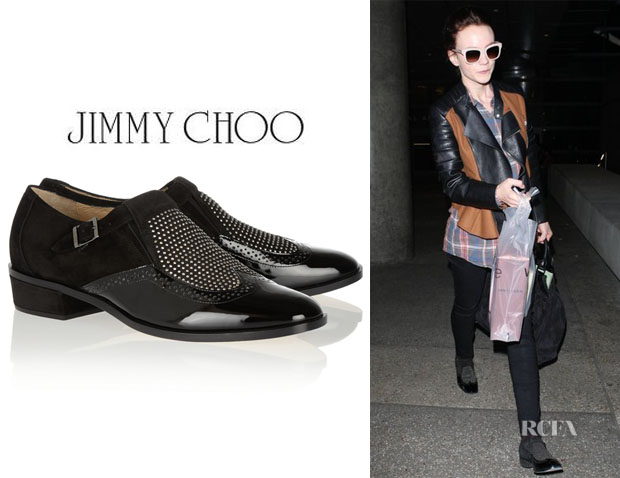 Carey Mulligan's Jimmy Choo 'Bay' Studded Monk-Strap Loafers