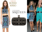 Carmen Electra's Torn by Ronny Kobo 'Mali' Top, Torn by Ronny Kobo 'Celeste' Skirt And Alexander McQueen Studded 'Britannia Classic Skull' Clutch