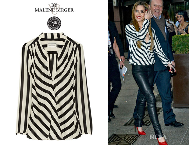 Cheryl Cole's By Malene Birger 'Lancie' Striped Silk Top
