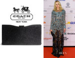 Diane Kruger's Coach 'Madison Caviar' Framed Clutch