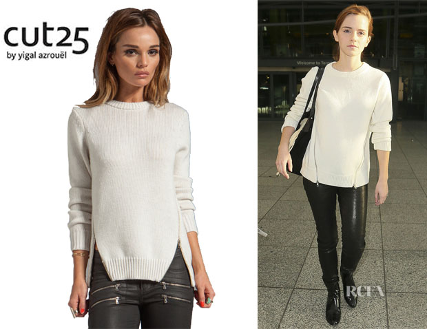 Emma Watson's Cut 25 By Yigal Azrouel Side Zipper Sweater