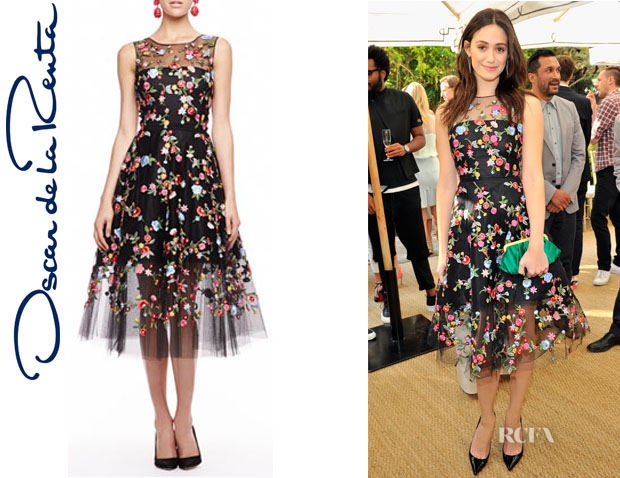 Emmy Rossum's Oscar de la Renta Embroidered Floral Tulle Dress