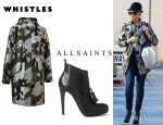 Gwen Stefani's Whistles Camo Jacquard Parka And All Saints 'Kiss Tassel' Chelsea Boots