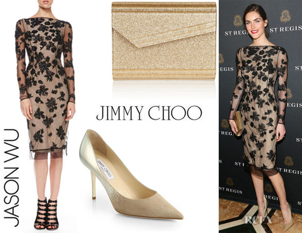 Hilary Rhoda's Jason Wu V-Back Sequined Tulle Dress, Jimmy Choo 'Agnes' Pumps And  Jimmy Choo 'The Candy' Clutch