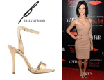 Jaimie Alexander's B Brian Atwood 'Catania' Mirror Leather Ankle-Strap Sandals