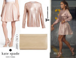 Jennifer Lopez' Kate Spade New York 'Aimee' Metallic Textured Pleat Skirt, T by Alexander Wang Metallic Knitted Jumper And Jimmy Choo 'Cayla' Clutch