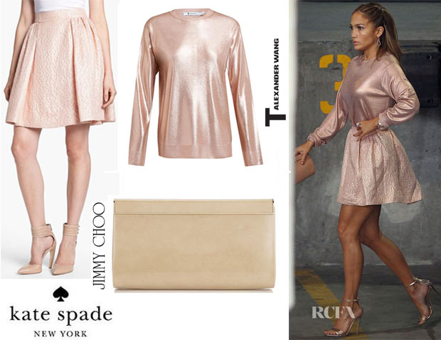 Jennifer-Lopez-Kate-Spade-New-York-'Aimee'-Metallic-Textured-Pleat-Skirt-And-Jimmy-Choo-'Cayla'-Clutch-t-by-Alexander-wang
