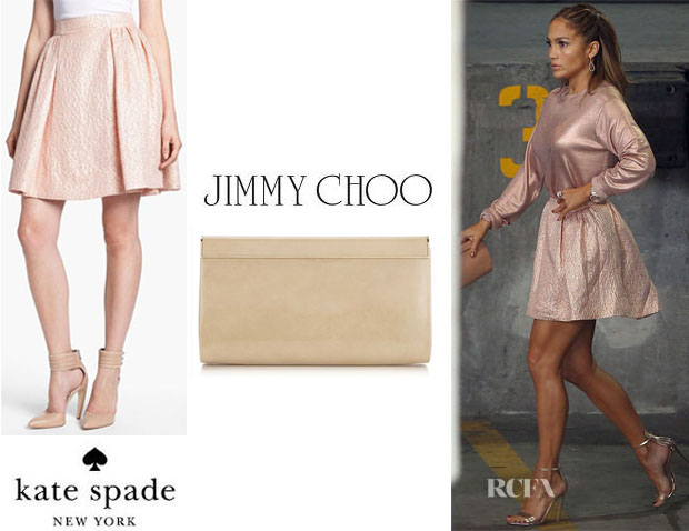Jennifer Lopez' Kate Spade New York 'Aimee' Metallic Textured Pleat Skirt And Jimmy Choo 'Cayla' Clutch