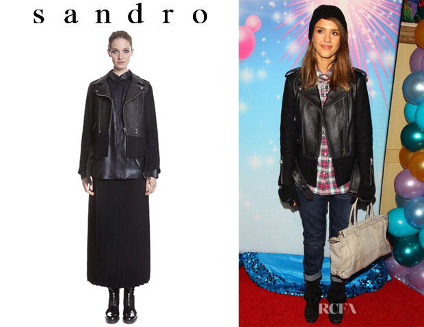 Jessica Alba's Sandro 'Version' Belted Leather And Wool Jacket