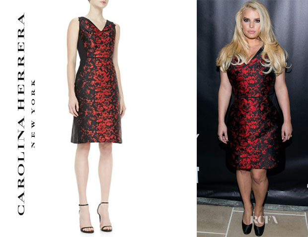 Jessica Simpson's Carolina Herrera Rose Jacquard Dress