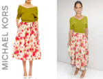 Katie Holmes' Michael Kors Off-The-Shoulder Cashmere Top And Full Floral-Print Skirt