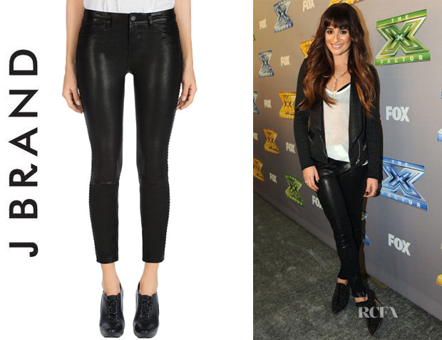 Lea Michele's J Brand 'Bonded' Studded Leather Pants