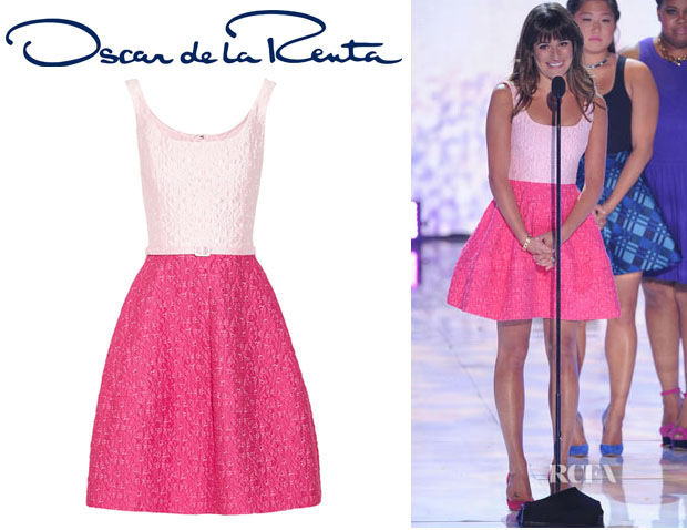 Lea Michele's Oscar de la Renta Two-Tone Brocade Dress
