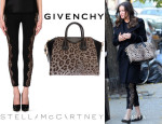 Liv Tyler's Givenchy 'Antigona' Tote And Stella McCartney Lace Paneled Leggings