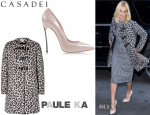 Margot Robbie's Paule Ka Monteau Coat And Casadei Pumps