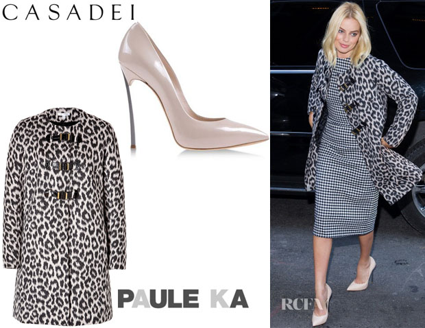 04e1099f583 Margot Robbie s Paule Ka Monteau Coat And Casadei Pumps
