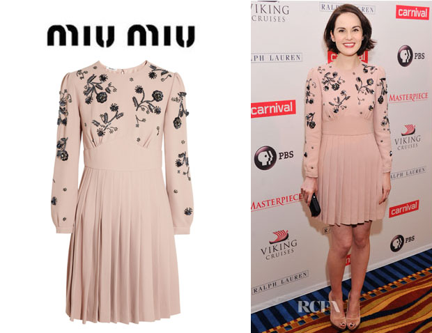 Michelle Dockery's Miu Miu Embellished Cady Dress