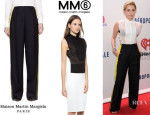 Miley Cyrus' Maison Martin Margiela Painted Stripe Tuxedo Trousers And MM6 Maison Martin Margiela Sleeveless Buttondown Top