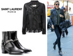 Miranda Kerr's Saint Laurent Fringed Leather Jacket And Saint Laurent 'Rock Chelsea' Boots