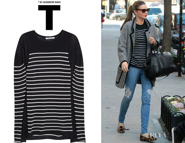 Miranda Kerr's T by Alexander Wang Striped Cotton-Blend Top