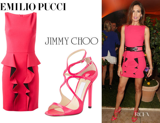 Nieves Alvarez Emilio Pucci Frill Two Tone Dress And Jimmy Choo Lance