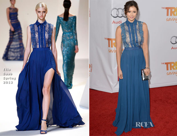 Nina Dobrev In Elie Saab - The Trevor Project's 'TrevorLIVE LA' Event Honouring Jane Lynch