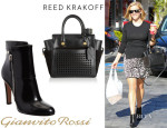 Reese Witherspoon's Reed Krakoff 'Atlantique Bionic Mini' Leather Tote And Gianvito Rossi Cuffed Ankle Boots