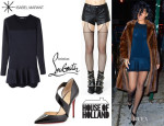 Rihanna's Isabel Marant 'Adams' Peplum Dress, House Of Holland Fishnet Suspender Tights And Christian Louboutin 'Ograde' Pumps