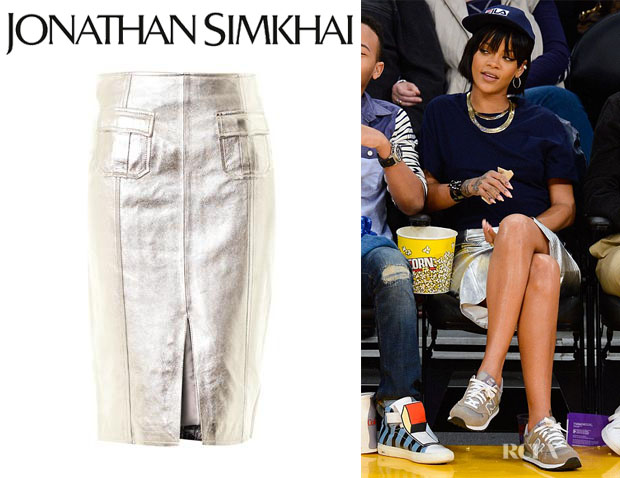 Rihanna's Jonathan Simkhai Metallic Leather Pencil Skirt