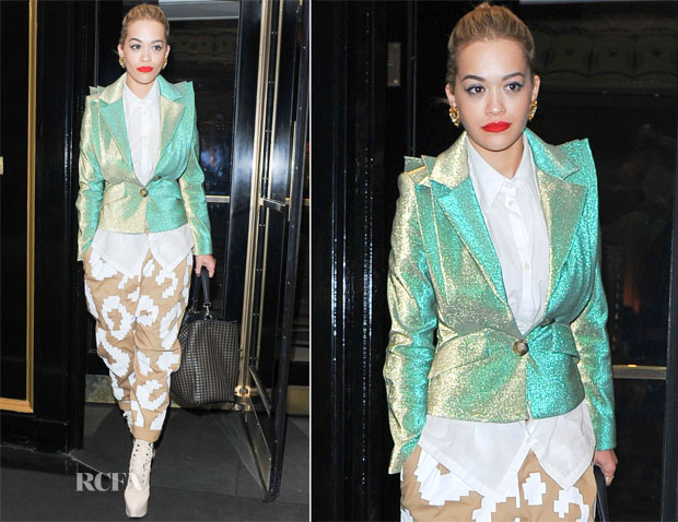 Rita Ora In Vivienne Westwood Anglomania - The Dorchester Hotel